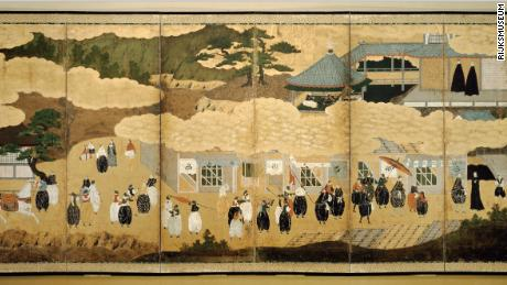 Full Japanese folding screen showing the arrival of Portuguese to Nagasaki.