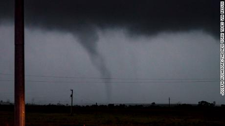 A tornado passes just south of Perry, Oklahoma.