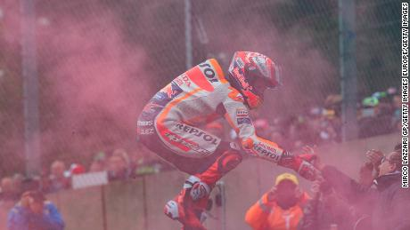 That winning feeling ... Marquez celebrates victory at the MotoGp of France in May.