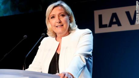 Far-right National Party leader Marine le Pen speaks to supporters at the party's campaign headquarters in Paris on Sunday, May 26.