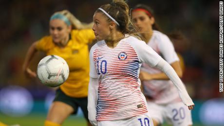 L'attaquant du Chili Yanara Aedo lors du match amical de l'année dernière contre l'Australie.