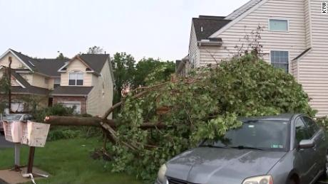 A tornado touched down in Berks County, Pennsylvania, shortly before 7 p.m.