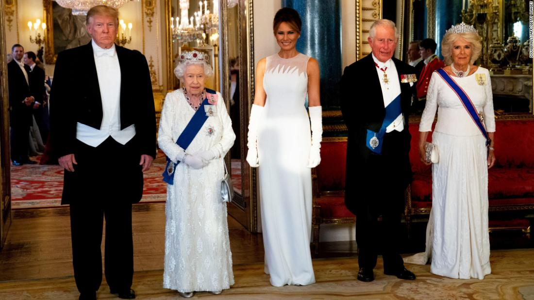 "Trump stands next to Queen Elizabeth II before <a href=""https://www.cnn.com/2019/06/04/politics/donald-trump-queen-elizabeth-state-banquet/index.html"" target=""_blank"">a state banquet at Buckingham Palace</a> on Monday, June 3. Joining them are first lady Melania Trump, Prince Charles and Camilla, the Duchess of Cornwall."