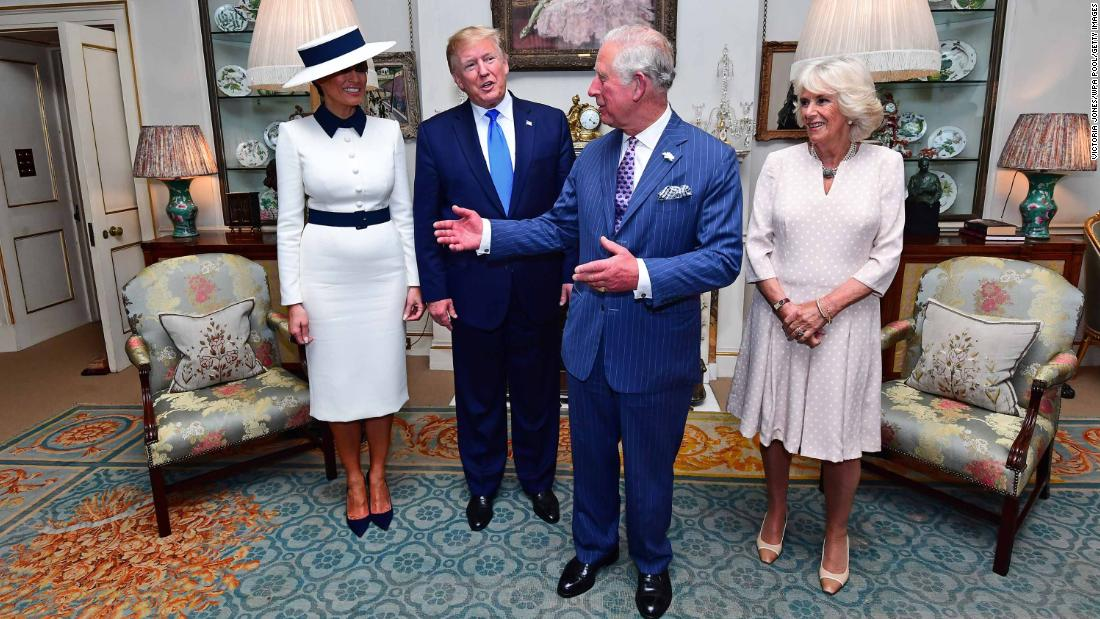 The Trumps are welcomed in London by Charles and Camilla, the Duchess of Cornwall.