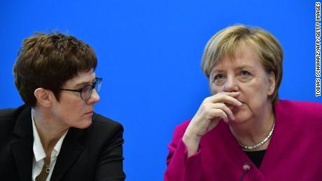 Merkel (R) with Kramp-Karrenbauer at CDU headquarters in October.