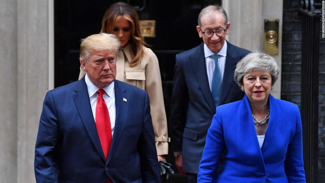 "US President Donald Trump and British Prime Minister Theresa May are followed by their spouses, Melania Trump and Philip May, as they make their way to a news conference in London on Tuesday, June 4. The President <a href=""https://www.cnn.com/2019/06/04/politics/trump-theresa-may-brexit-trade/index.html"" target=""_blank"">offered plenty of praise for May,</a> who recently announced her resignation."