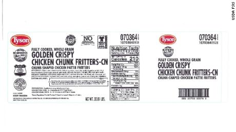 Tyson Foods recalls over 190,000 pounds of chicken fritters