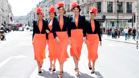 Charlotte Hawkins, Stephanie Waxberg and influencers at the launch of the Royal Ascot dress code assistants uniform.