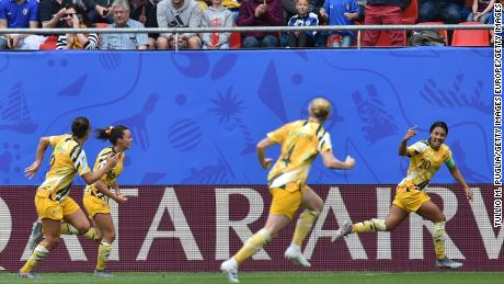 Kerr scored the opening goal in Australia's 2-1 defeat by Italy.