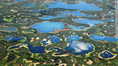 In this aerial image, thermokarst lakes are seen on June 21, 2017 in Alaska, United States.