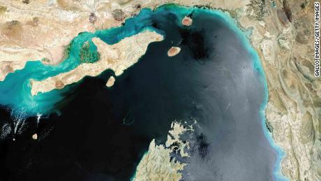 Une image satellite du détroit d'Hormuz.