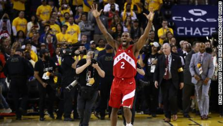 Kawhi Leonard celebrates his teams win over the Golden State Warriors in Game Six.