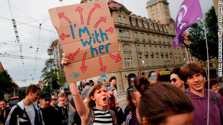 Women in the Swiss capital of Bern strike for equal rights during a nationwide protest on Friday.