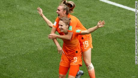 Vivianne Miedema became her country's all-time top women's scorer after scoring her side's third goal.