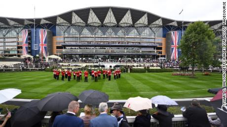 The Band of the Coldstream Guards performs for the crowds at Royal Ascot.