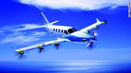 A visualization of a plane equipped with EcoPulse.
