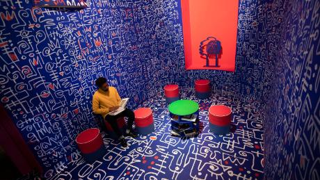 Artist Victor Ekpuk's mesmerizing mural pays homage to African writing systems