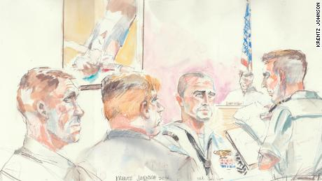 Navy SEAL medic Corey Scott, center, testified in the trial of Chief Special Warfare Operator Eddie Gallagher at a San Diego military court Thursday.
