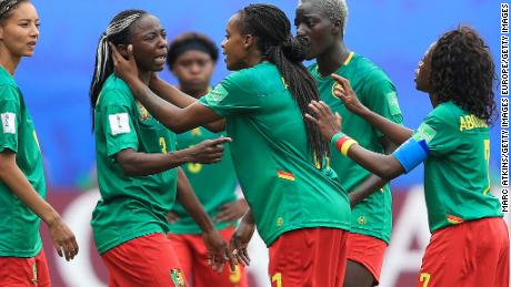 Ajara Nchout of Cameroon is distraught after her goal is ruled out for offside following a VAR check in the last 16 clash with England at the Women's World Cup.