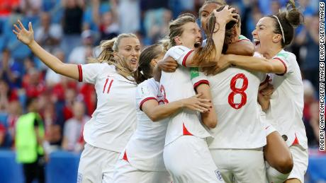England players celebrate the semifinals.