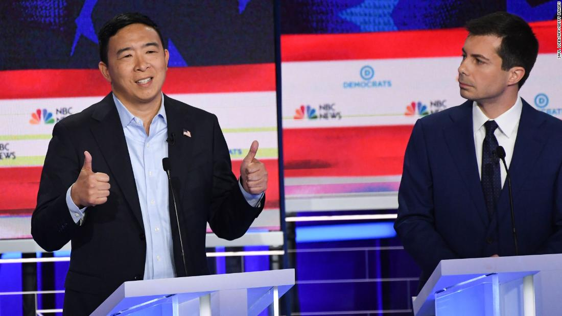 Yang answers a question during the first Democratic debates in June 2019.