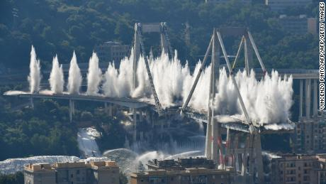 Controlled explosions demolish remains of collapsed Italy bridge