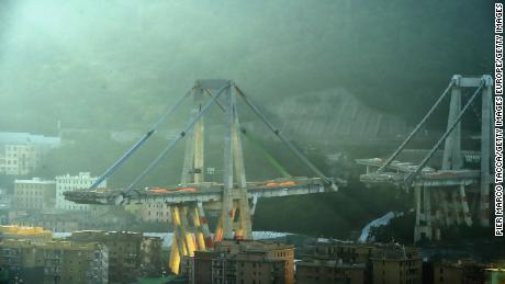 Remaining parts of collapsed Italian Genoa bridge are demolished