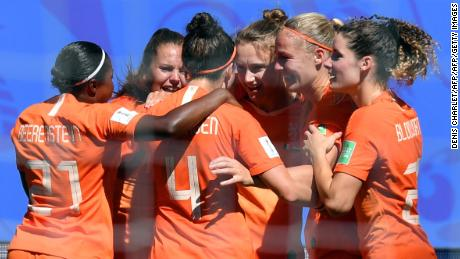 Netherlands players celebrate during Saturday's 2-0 quarterfinal win against Italy at the Women's World Cup.