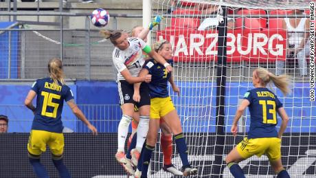 Sweden keeper Hedvig Lindahl was fortunate not to give away a penalty in the second half against Germany at the Women's World Cup.