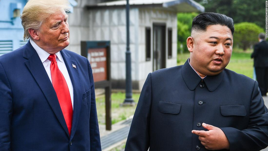 Kim speaks as he stands with Trump south of the Military Demarcation Line that divides North and South Korea, in the Joint Security Area of Panmunjom in the Demilitarized zone on June 30.