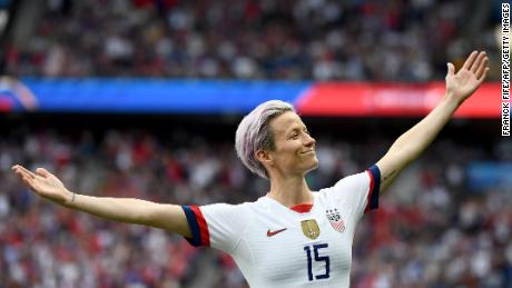 The celebration of Rapinoe's goals against France has been the subject of sustained attention on social media.