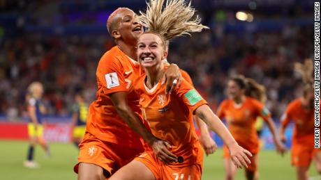 Jackie Groenen celebrates scoring the winning goal for the Netherlands.