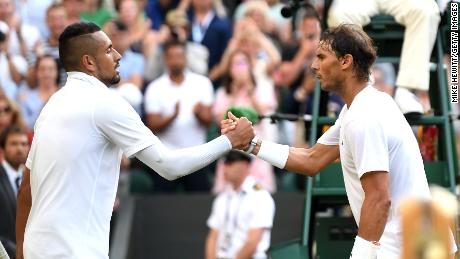 Nick Kyrgios (left) and Rafael Nadal played out a thriller.