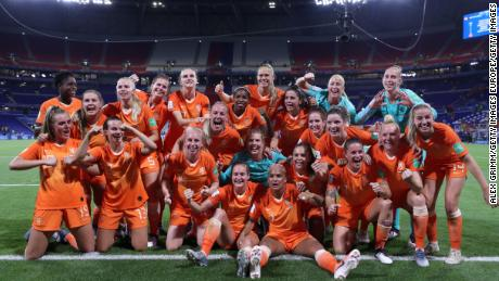 Netherlands players celebrate beating Sweden 1-0 in exra-time to reach the Women's World Cup final.