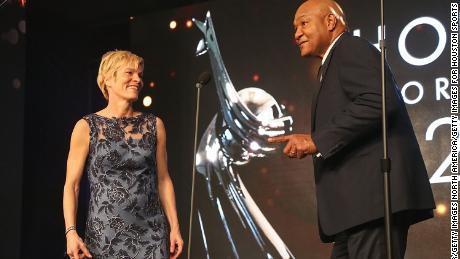 Vera Pauw and George Foreman  at the Houston Sports Awards in 2018