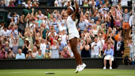 Coco Gauff leaped in joy after winning Friday at Wimbledon.