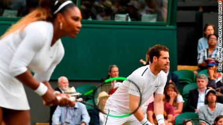 Serena Williams and Andy Murray were on the same side of the court in mixed doubles at Wimbledon on Saturday.