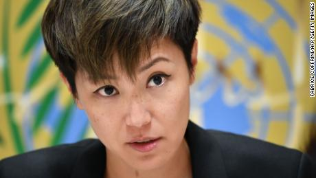 Pro-democracy Hong Kong singer Denise Ho attends a press conference after addressing the United Nations Human Rights Council in Geneva on July 8, 2019.