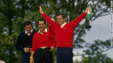 Ryder Cup European team captain Tony Jacklin (right) celebrates with Seve Ballesteros (left) and Sam Torrance (centre).