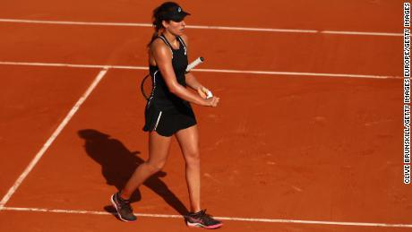 Konta after her first round match against Yulia Putintseva at Roland Garros in 2018