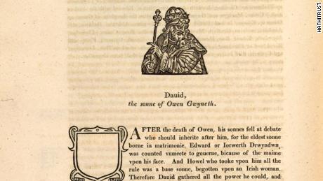 Un extrait de l'histoire de 1584 de Humphrey Llwyd,