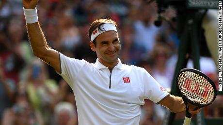 Federer celebrates victory after beating Kei Nishikori.