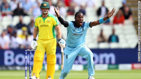 Jofra Archer of England celebrates taking the wicket of Aaron Finch of Australia during the semifinal.
