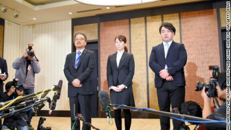 Executives of the AKS, who manages pop group NGT48, attend a press conference after Maho Yamaguchi of NGT48 was attacked by fans in front of her house on January 14, 2019 in Tokyo, Japan.