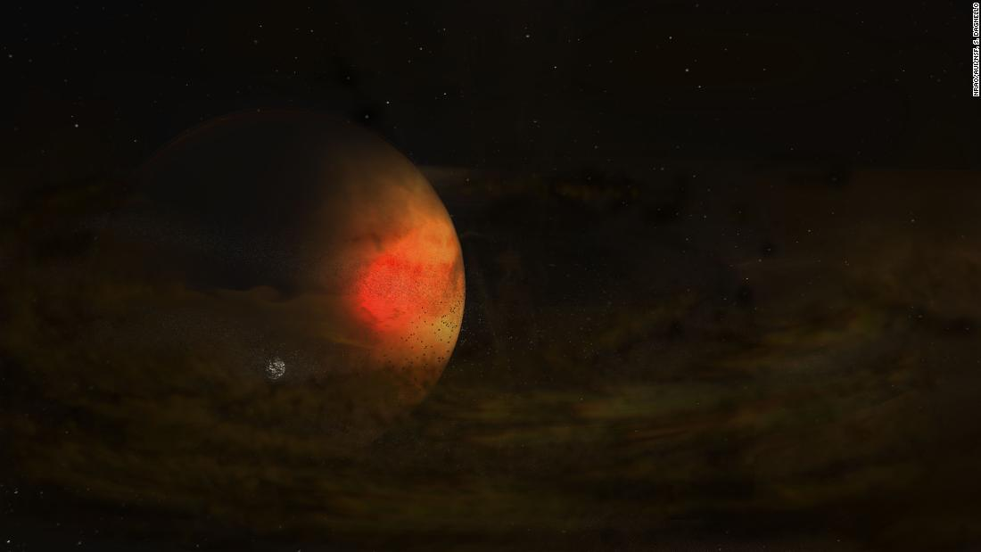 An artist's impression of a circumplanetary disk around PDS 70 c, a gas giant exoplanet in a star system 370 light-years away.