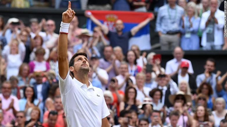 ผลการค้นหารูปภาพสำหรับ Djokovic saves match points, beats Federer in historic Wimbledon final