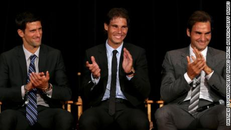 Djokovic with Nadal and Federer.