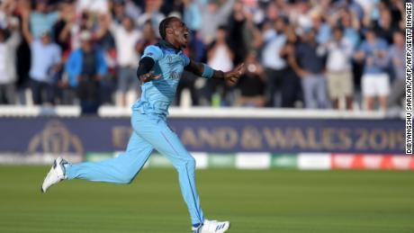 England's Jofra Archer celebrates after victory in the 2019 Cricket World Cup final