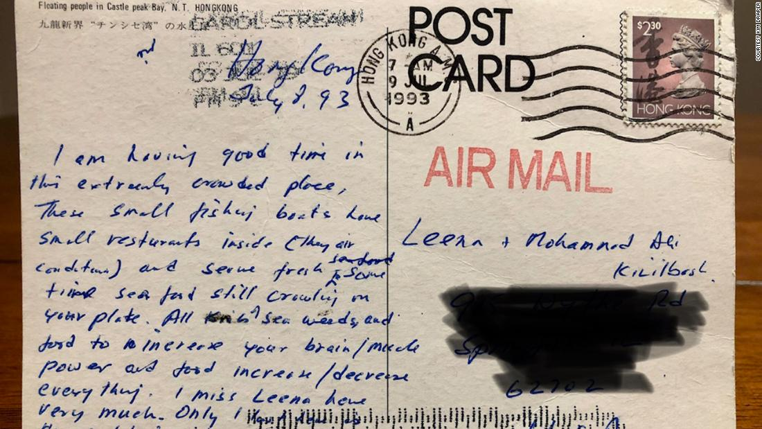 A postcard from Hong Kong will be returned -- 26 years later -- to its sender back home in Illinois - CNN