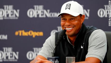 Tiger Woods talks to reporters ahead of The Open at Royal Portrush.